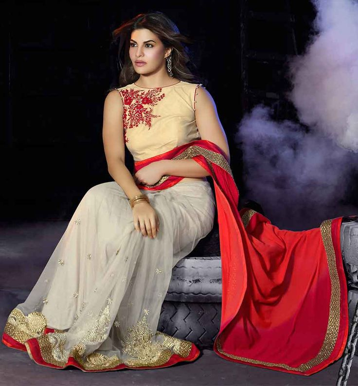 PARTY WEAR SAREE JACKET DESIGNS 2015 INTRODUCED BY JACQUELINE