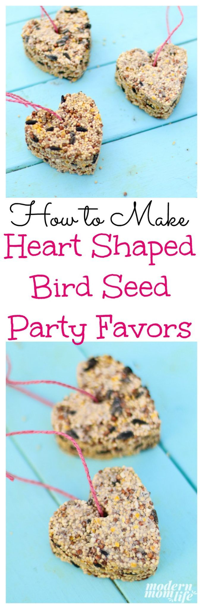 How to Make Valentine's Day Heart Shaped Bird Seed Favors.  via @amodernmomlife