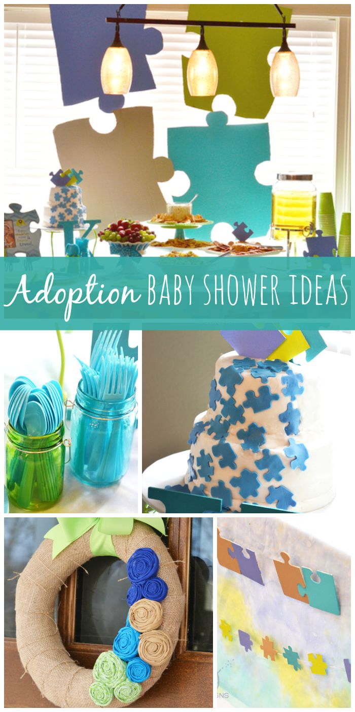 This adoption baby shower shows everyone that they found their missing puzzle piece!  See more party ideas at CatchMyParty.com!