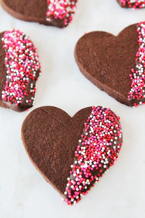 Chocolate Shortbread Heart Cookies on twopeasandtheirpod.com The perfect treat for Valentine's Day!
