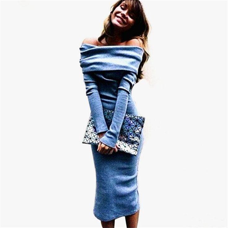 100% Good Feedback Sexy Off Shoulder Knitted Dress For Women Autumn Long Sleeve Slash Neck Women Dress Slim Bodycon Dress Ladies