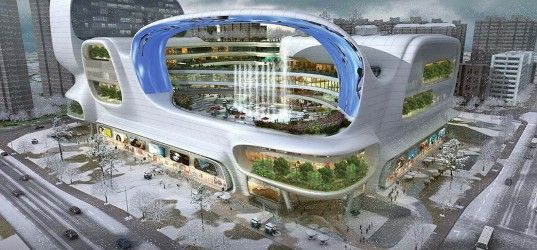 Dongfeng Shopping Mall, amphibianArc, China, shopping mall, landscape architecture, LED canopy, vertical aquarium, giant aquarium, public plaza, Los Angeles architects, Zhengzhou