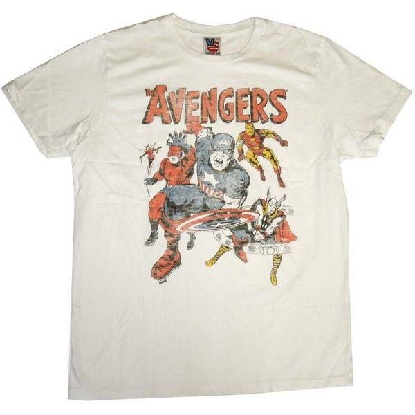 The Avengers Team Marvel Comics Vintage Style Junk Food T-Shirt Tee (£5.94) ❤ liked on Polyvore featuring tops, t-shirts, vintage style t shirts, marvel comics t shirts, vintage looking t shirts, vintage style tops and marvel comics