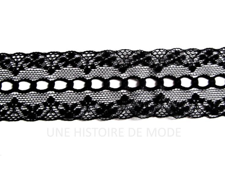 1 mètre de dentelle noire avec trous pour passer un ruban - 37 mm de largeur : Rubans par une-histoire-de-mode