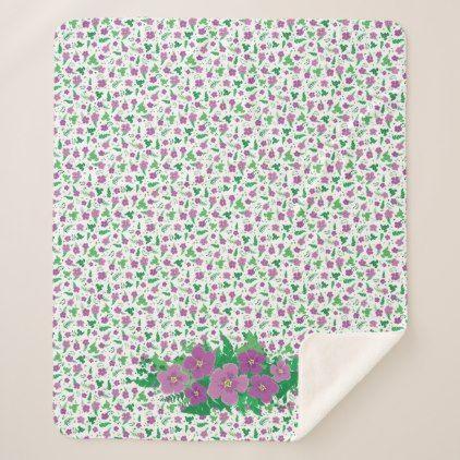 #Purple Hibiscus Sherpa Blanket - #flower gifts floral flowers diy