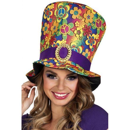 Deze flower power hippie hoed is gemaakt van polyester en is geschikt voor volwassenen, omvang ca. 59 cm.