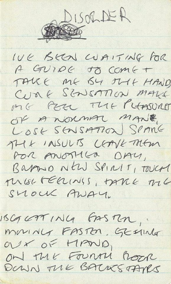Joy Division: Handwritten lyrics by Ian Curtis for Disorder, ca 1978