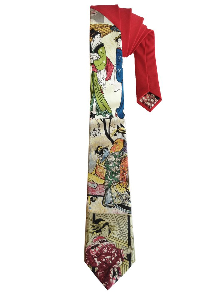 Japanese Geisha print Cotton Tie - Red