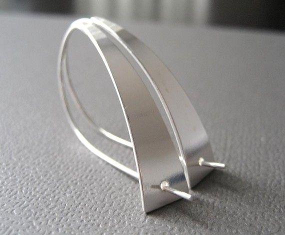 Modernista Sterling Silver Earrings Sleek Earrings by CuteJewels, $45.00