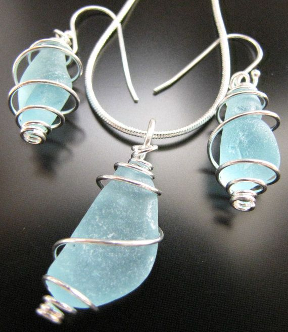 Sea Glass Jewelry, Beach Combed Aqua Blue Spiral Wrapped - Sea Glass Necklace and Earrings Gift Set, Jewellery