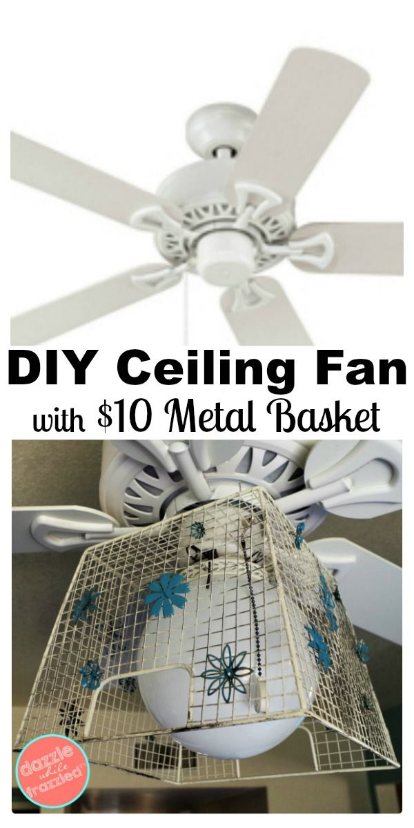 DIY builders ceiling fan update with metal farmhouse basket and vintage flowers. Give a standard white ceiling fan an eclectic new look with a ceiling medallion, an inexpensive farmhouse wire basket and vintage metal flowers.  via @https://www.pinterest.com/dazzlefrazzled/ #ceiling #eclectic #farmhousekitchen
