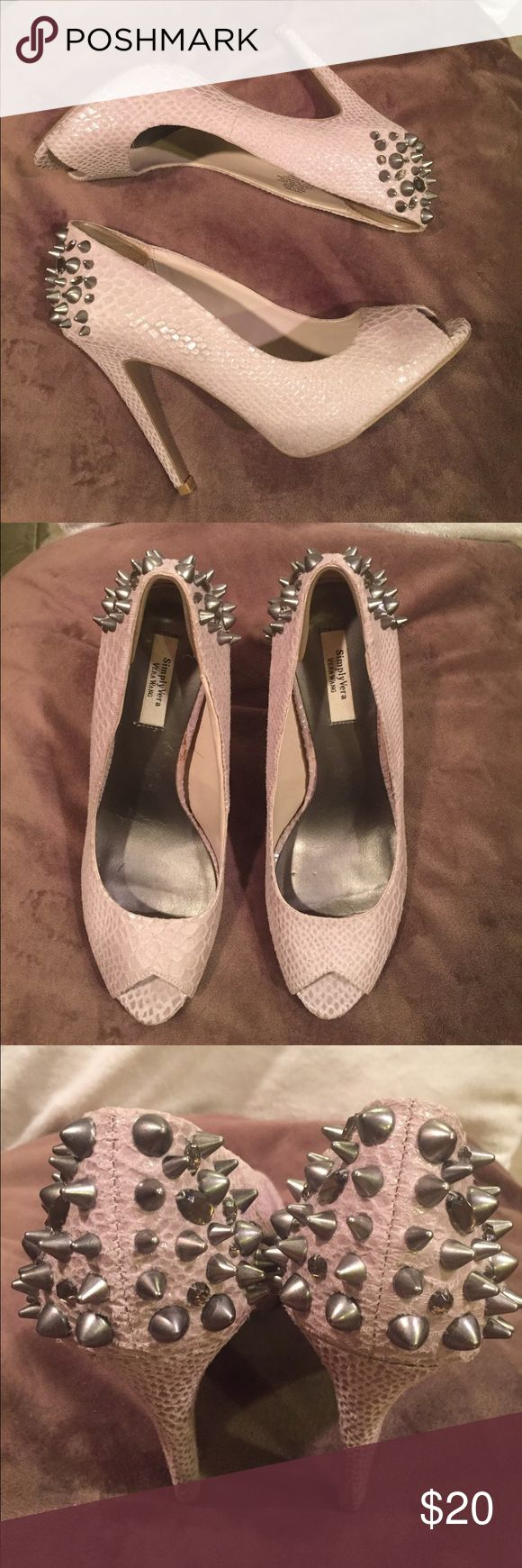 Vera Wang Grey Spiked Heels These heels are funky. Definitely eye catching. Gently used. Very minor signs of usage. Vera Wang Shoes Heels