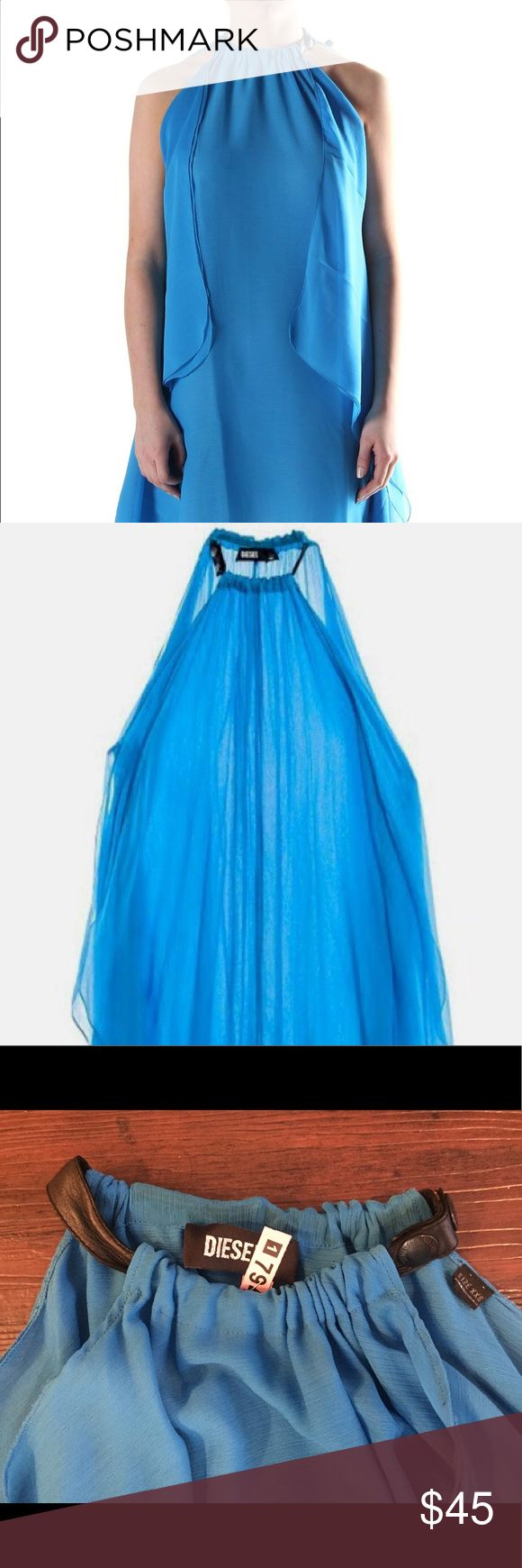 """Blue Diesel Halter Asymmetrical Flowy Dress Blue Diesel Halter Dress XXS. I'm 5'10 and 140lbs, 32D and it fits me (I had the collar altered so it's comfortable!) and any sizes 0-6. Fully lined. Chiffon. Pulls on over head. 100% Sheepskin leather collar. Such a flattering dress for any body type. Makes your shoulders look great!! This dress was a tad short for my conservative taste. Worn once. 40.5"""" in length at its' longest point. Absolutely stunning and unique. Top quality. Diesel Dresses…"""