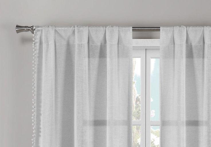 Frey Pom Pom Solid Semi-Sheer Rod Pocket Curtain Panels