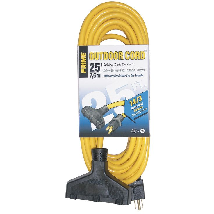 Prime EC600725K 25' 14/3 Sjtw Yellow Triple-Tap Outdoor Extension Cord (Power cables)