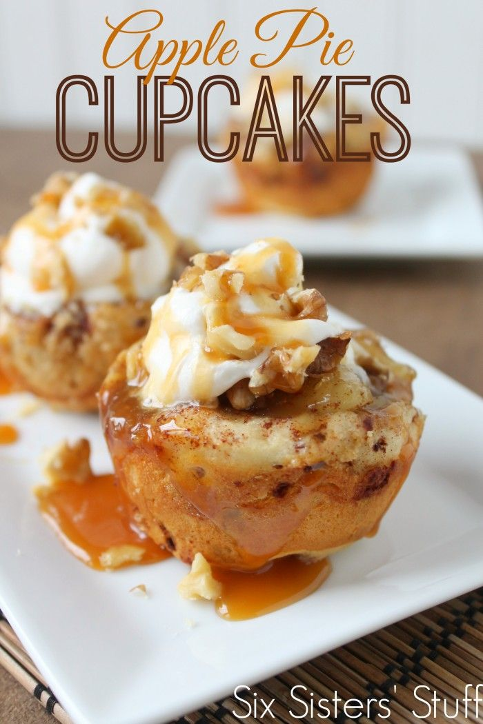 One of the easiest desserts you will ever make: Apple Pie Cupcakes! They are to die for! www.Sixsistersstuff.com