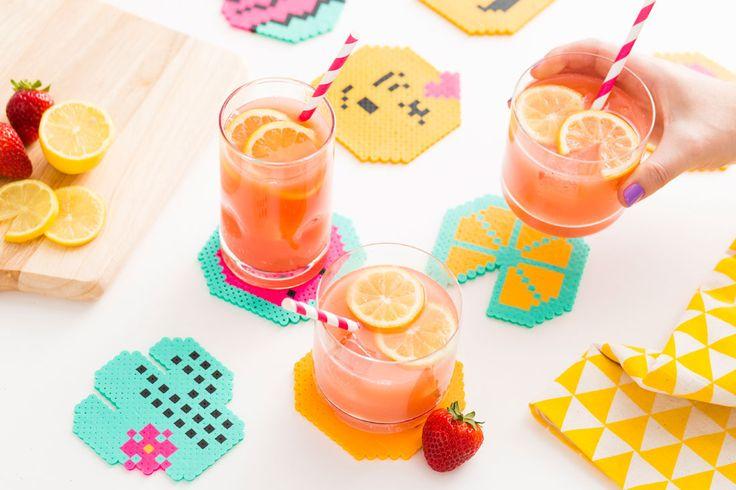 Perler beads  emoji coasters