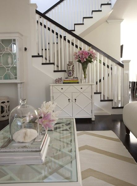 dreamy dark floors and staircase: Spaces, Living Rooms, Stairs, Color, Dark Wood Floors, Interiors, Memorial Tables, White Wall, Chevron Rugs