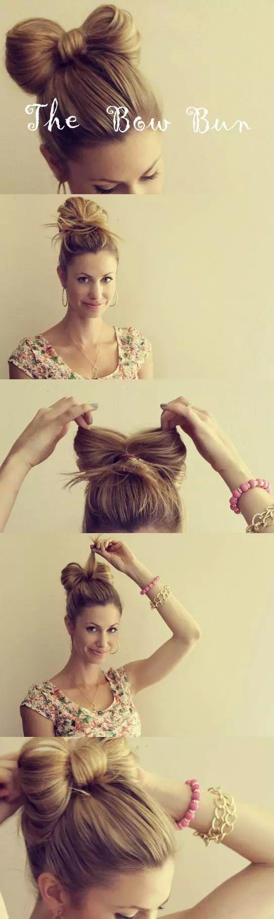 Hair / bow bun. so easy on We Heart It