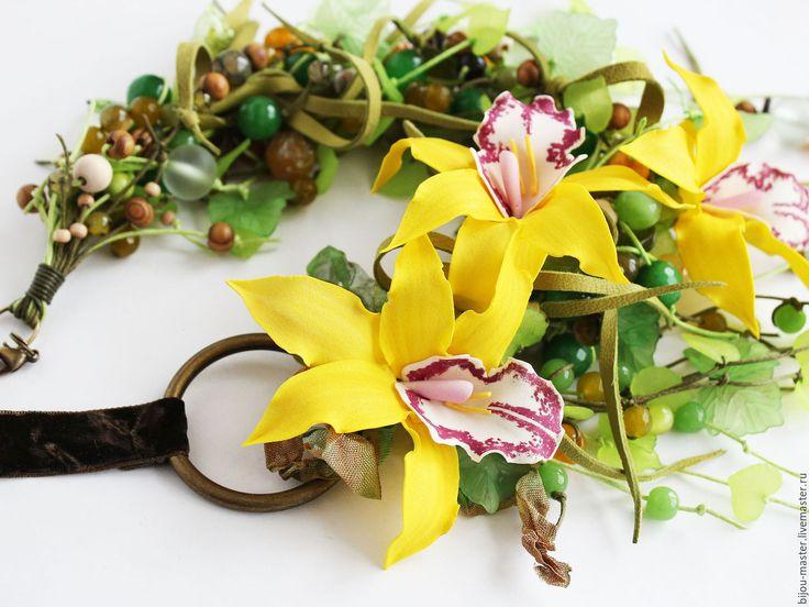 Купить колье ТРОПИЧЕСКИЙ ЛИМОНАД - зеленый, желтый, орхидеи, орхидея ручной работы, колье с цветами