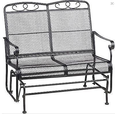 Patio Glider Outdoor Swing Wrought Iron Mesh Furniture 2 Porch Bench Lawn Chairs Backyard