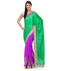 Green and Purple Brasso and Faux Georgette Half and Half Saree   Fabroop USA   $46.00  
