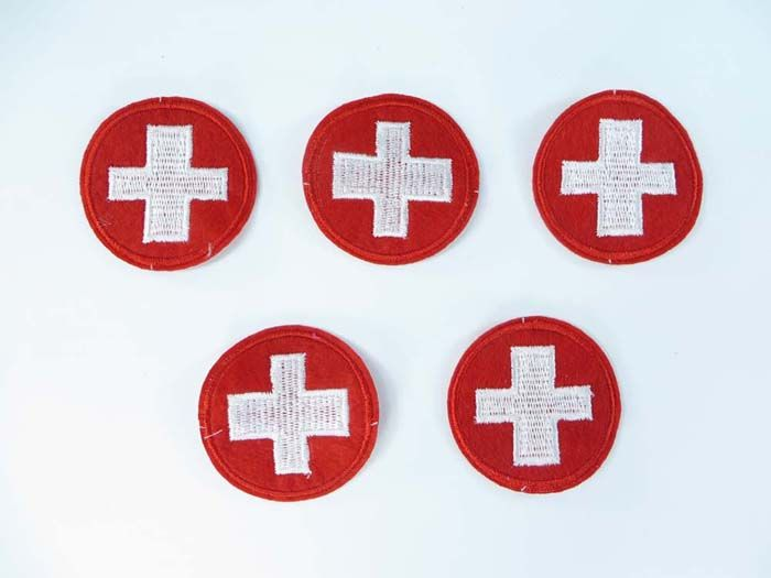First Aid sign white cross in red circle logo patch embroidered patches nyc $1.5 - http://www.wholesalesarong.com/blog/first-aid-sign-white-cross-in-red-circle-logo-patch-embroidered-patches-nyc-1-5/