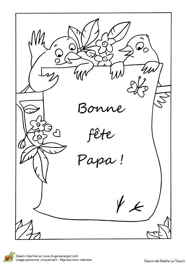 A colorier une jolie lettre pour papa avec 2 petits - Dessin pour la fete des peres ...
