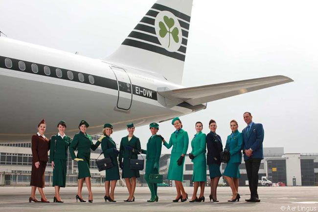 At Irish carrier Aer Lingus' 75th-anniversary ceremony at Dublin Airport in June 2011, Aer Lingus flight attendants modeled vintage uniforms from each decade from 1945 through to the current Aer Lingus uniform