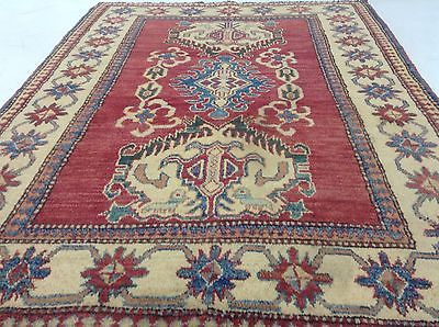 KAZAK STYLE/PAKISTAN-Area-Rug-Geometric-Hand-Knotted-Wool-Red-Blue-Green-Foyer-Rug