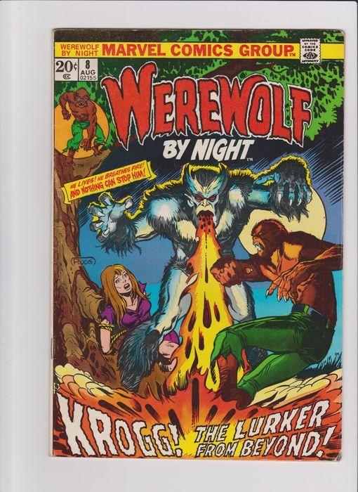 Werewolf by Night # 8 10 18 19 21 24 en 29 - 7x sc - (1973 / 1975)  Werewolf by Night:# 8 Krogg! The Lurker from beyond! aug 1973. Goede staat.# 10 The sinister secret of Sarnak! oct 1973. Zeer goede staat.# 18 War of the Werewolves! june 1974. Goede staat.# 19 Werewolf battles Vampires! july 1974. Goede staat.# 21 Another must die! sept 1974. Redelijke staat.# 24 Death battle with... the Brute! dec 1974. Redelijke staat.# 29 A sister born of hell! may 1975. Goede staat.Bewaard in plastic…