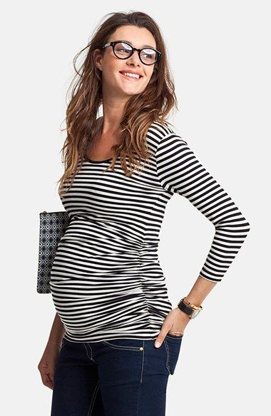 Free shipping and returns on Isabella Oliver 'Millie' Stripe Maternity Top at Nordstrom.com. Smart side ruching lends a figure-flattering element to a comfy striped tee featuring a subtle scooped neckline and bracelet-length sleeves.