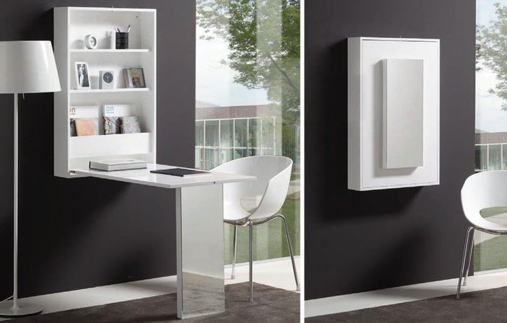 Mesa abatible de pared con estantes style home for Mesa escritorio abatible