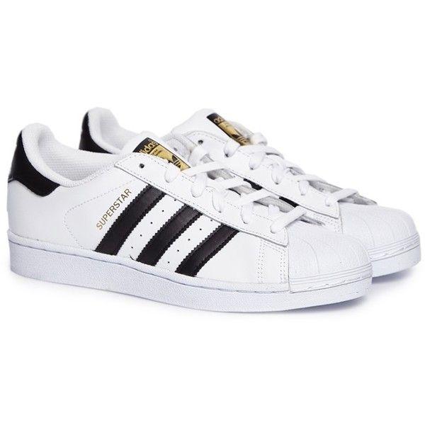 Adidas Superstar white sneakers (2.185 RUB) ❤ liked on Polyvore featuring shoes, sneakers, adidas sneakers, adidas, white trainers, adidas trainers and adidas footwear