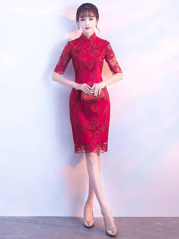 fa539a8d1 Red Embroidered Short Qipao / Cheongsam Dress with Split | teapai ...