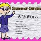 This package contains 6 grammar stations for literacty centers.   Stations include: Contractions Abbreviations Synonyms and Antonyms Compound Words...