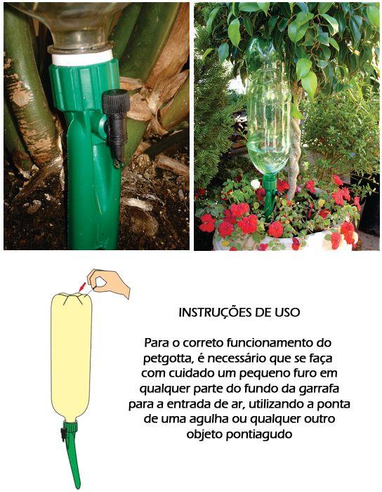 Irrigação por gotejamento com garrafas pet