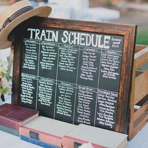 such a sweet idea for a seating arrangement... a train schedule then all the tables have postcards with the address of the destination.