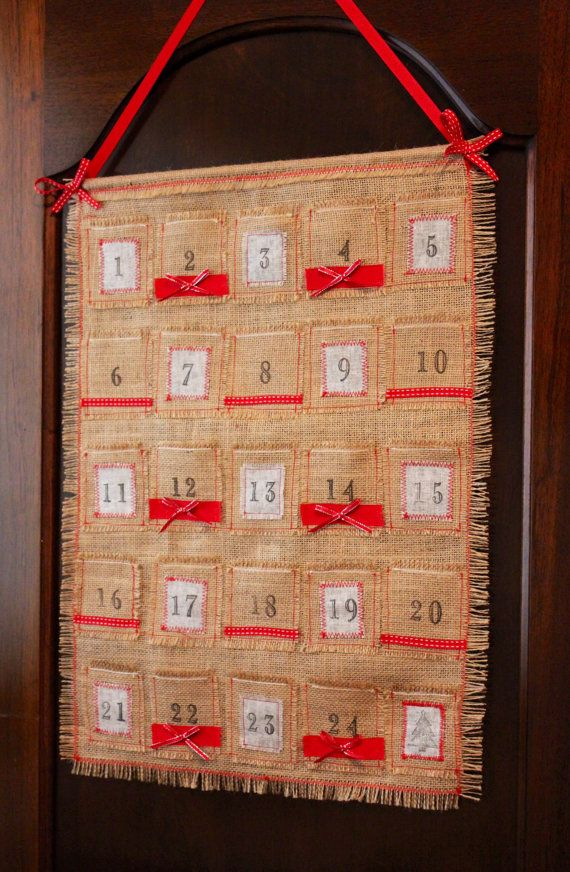 Nordic Burlap Advent Calendar by PuddleducklaneAgain on Etsy, $25.00