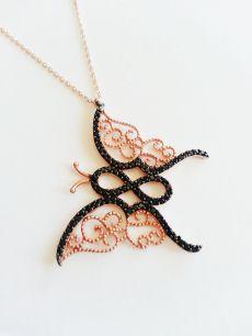925 ayar gümüş,siyah taşlı,kelebek hayalet kolye(HY00182)