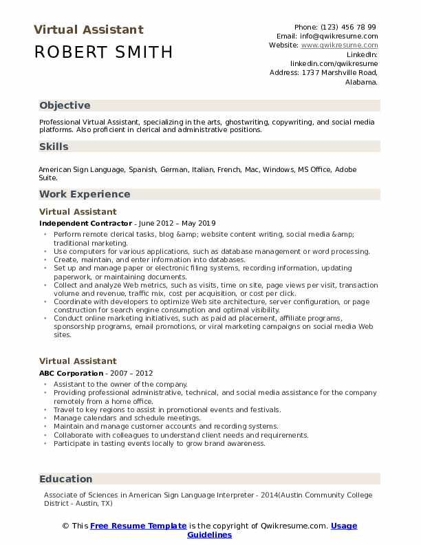 Virtual Assistant Resume Sample In 2020 Administrative Assistant Resume Virtual Assistant Resume Template Word