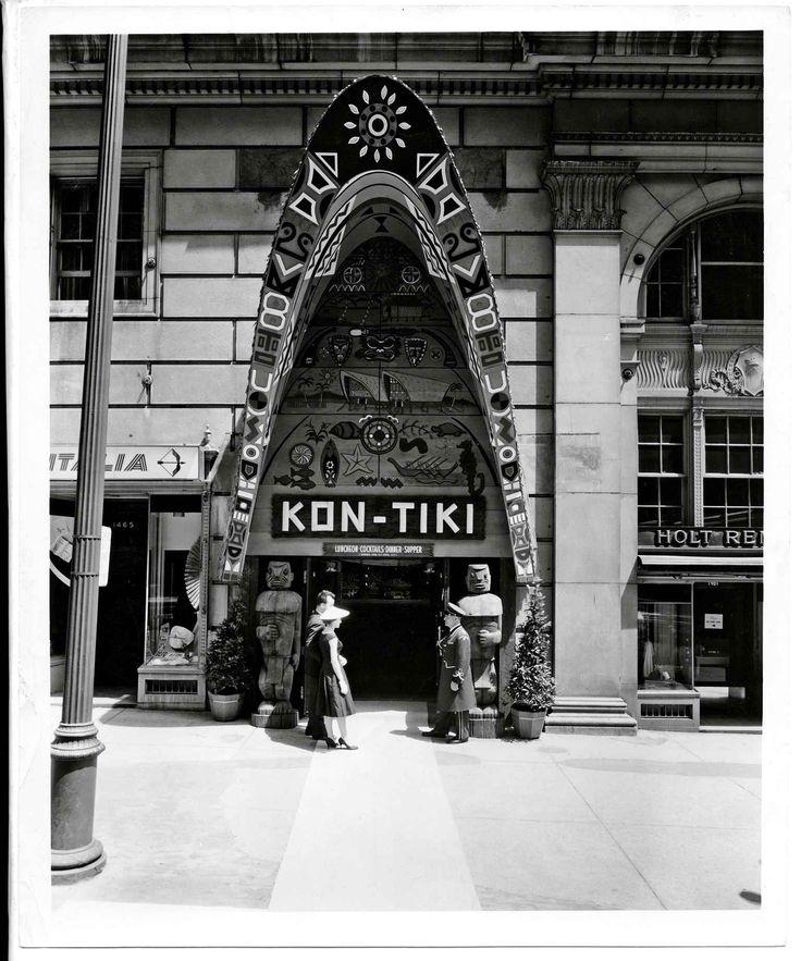 Le Tiki apparu dans l'architecture et dans la décoration intérieure des restaurants au début des années 1950.Photo: Kon-Tiki Polynesian restaurant, Montréal, 1958.
