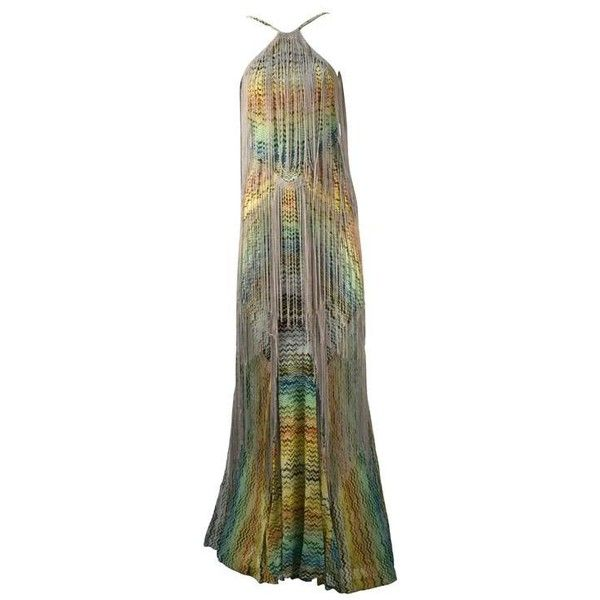 Preowned Spectacular Missoni Multi Color Knit Halter Dress With Fringe ($2,200) ❤ liked on Polyvore featuring dresses, formal gowns, grey, couture dresses, missoni dress, grey halter dress, formal dresses and grey dress