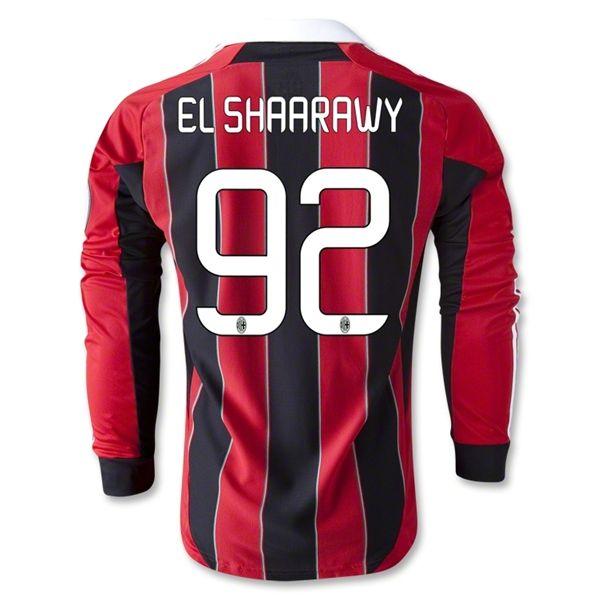EL SHAARAWY Jersey; 2012-2013 AC Milan 92 EL SHAARAWY Long Sleeve Home Jersey