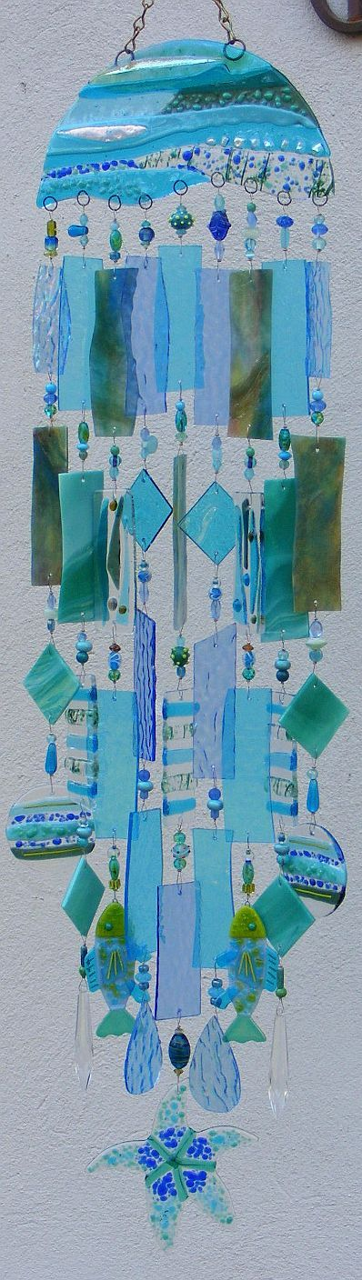 ❦Kirk's Glass Art: Kirk Glasses, Length Wind, Fused Glasses, Glasses Art, Wind Chimes, Sea Glass, Beaches Cottages, Stained Glasses, Waves Length