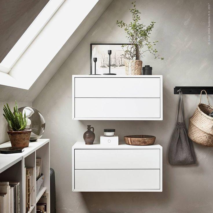 """2,308 Likes, 16 Comments - IKEA Sverige (@ikeasverige) on Instagram: """"Fiffiga förvaringslösningar! I ett rum med charmigt snedtak går #EKET lådor att montera direkt på…"""""""