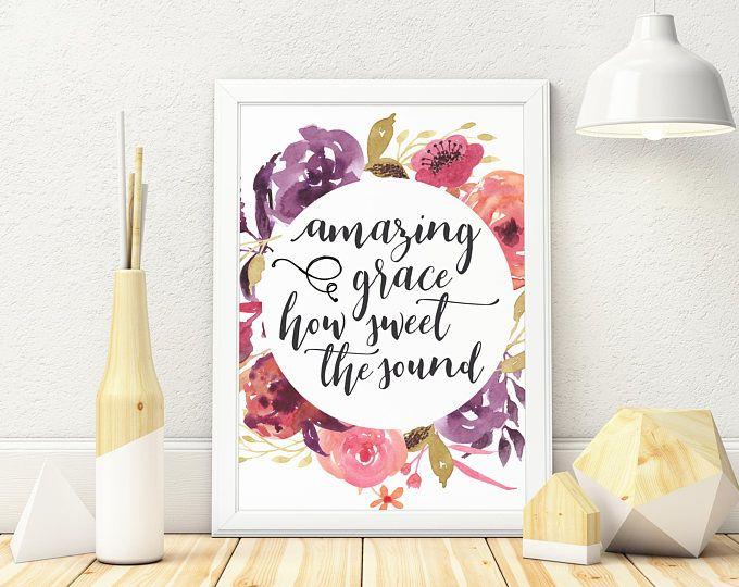 "Art Print, ""Amazing Grace"", Canvas, Hymn, Calligraphy, Floral Wreath"