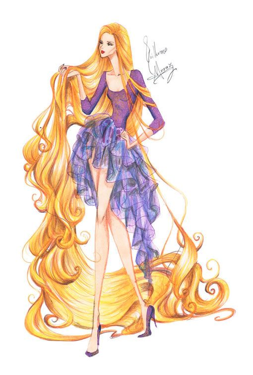 Дисней Принцессы топ модели - иллюстрации в стиле высокой моды