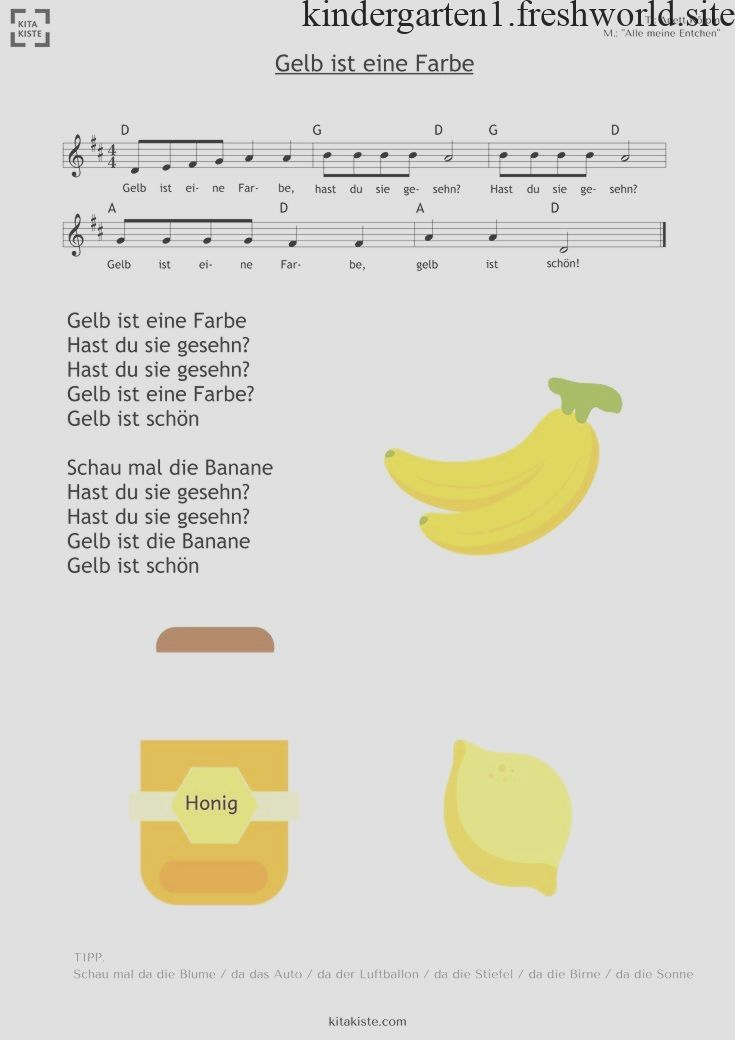 Gelb Ist Eine Farbe Einfaches Farbenlied Mit Bildern