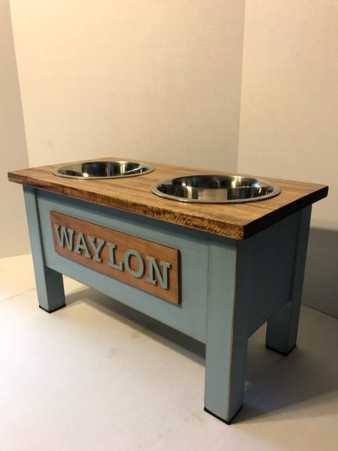 Large Rustic Wooden Dog Dish Stand Dog Feeder Personalized